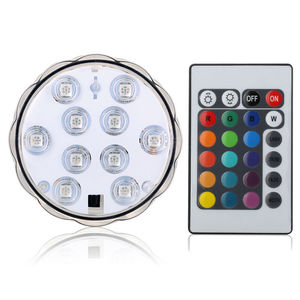 10-LED RGB Submersible LED Light, Multi Color Waterproof Wedding Party Vase Base Floral Light + Remote Control