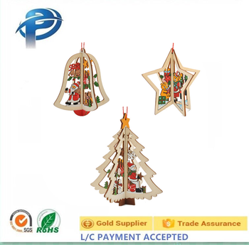hot sales laser cut wooden window hanging christmas tree bell decoration gift - Christmas Tree Bell Decoration