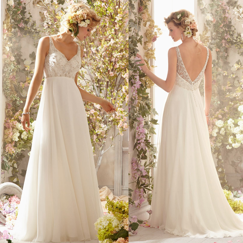 Bodice Wedding Gown: New Arrival Heavy Beaded Bodice Backless Flowy Bridal Gown