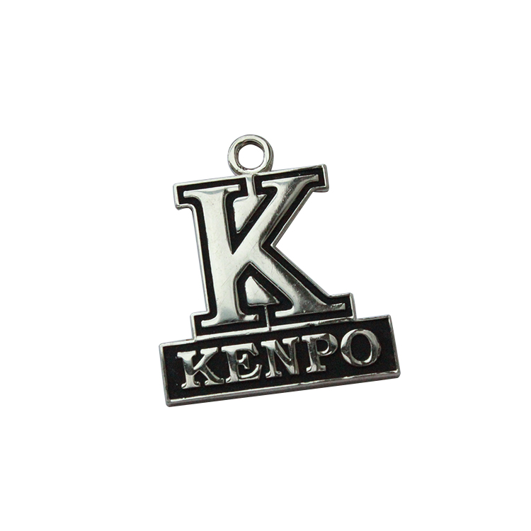 Wholesale Cheap Engraved 3D Metal K Pendant Letters Custom Jewelry Tags With Embossed Logo