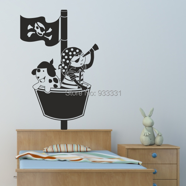 pirate wall sticker bedroom pirates ship stickers personalised boys decal vinyl in wall stickers. Black Bedroom Furniture Sets. Home Design Ideas