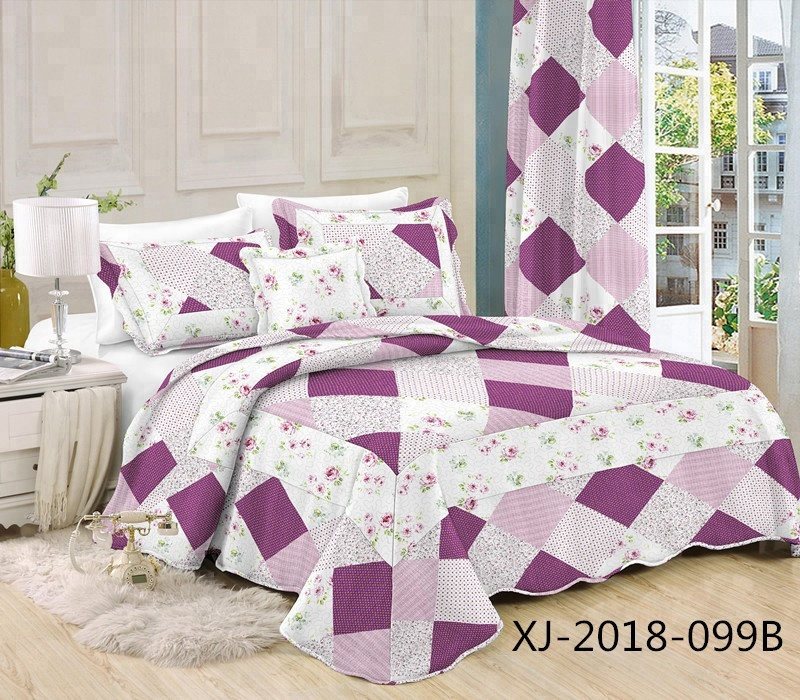 Cheap patchwork printed microfiber fabric stitching bedspread with polyester filling quilt