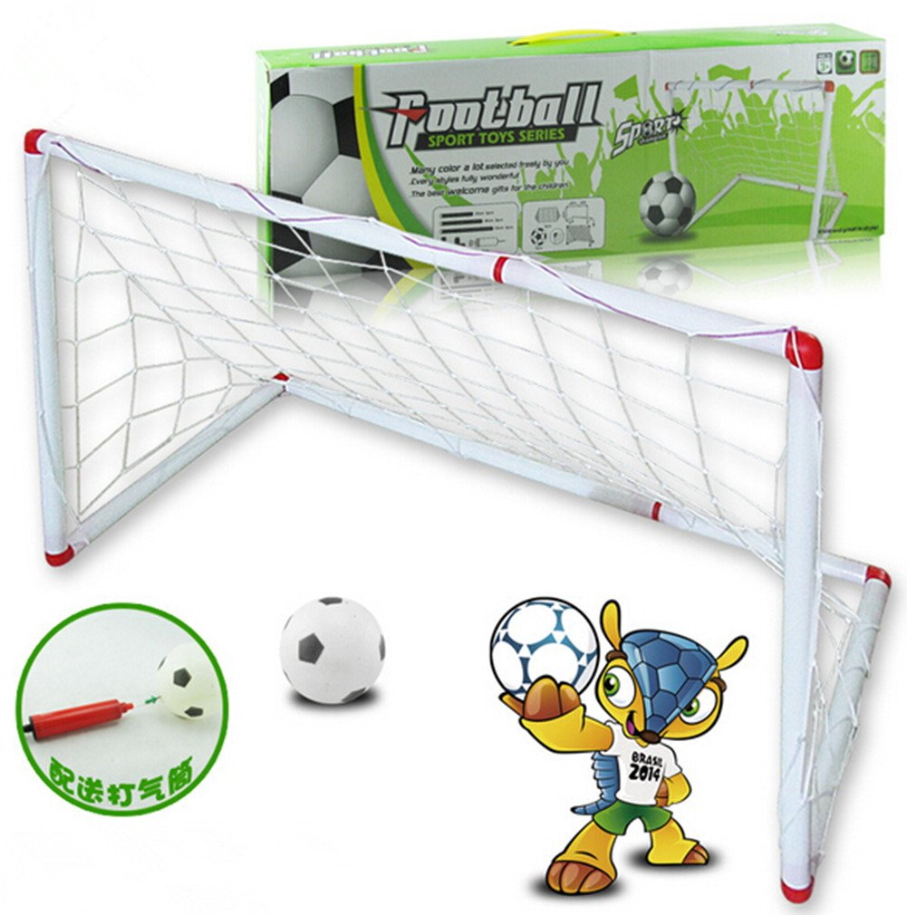 Remeehi Easy Soccer Game for Kids Portable Folding Football Goal Gate Outdoor Backyard Lawn Goal Post Kickball Game Set