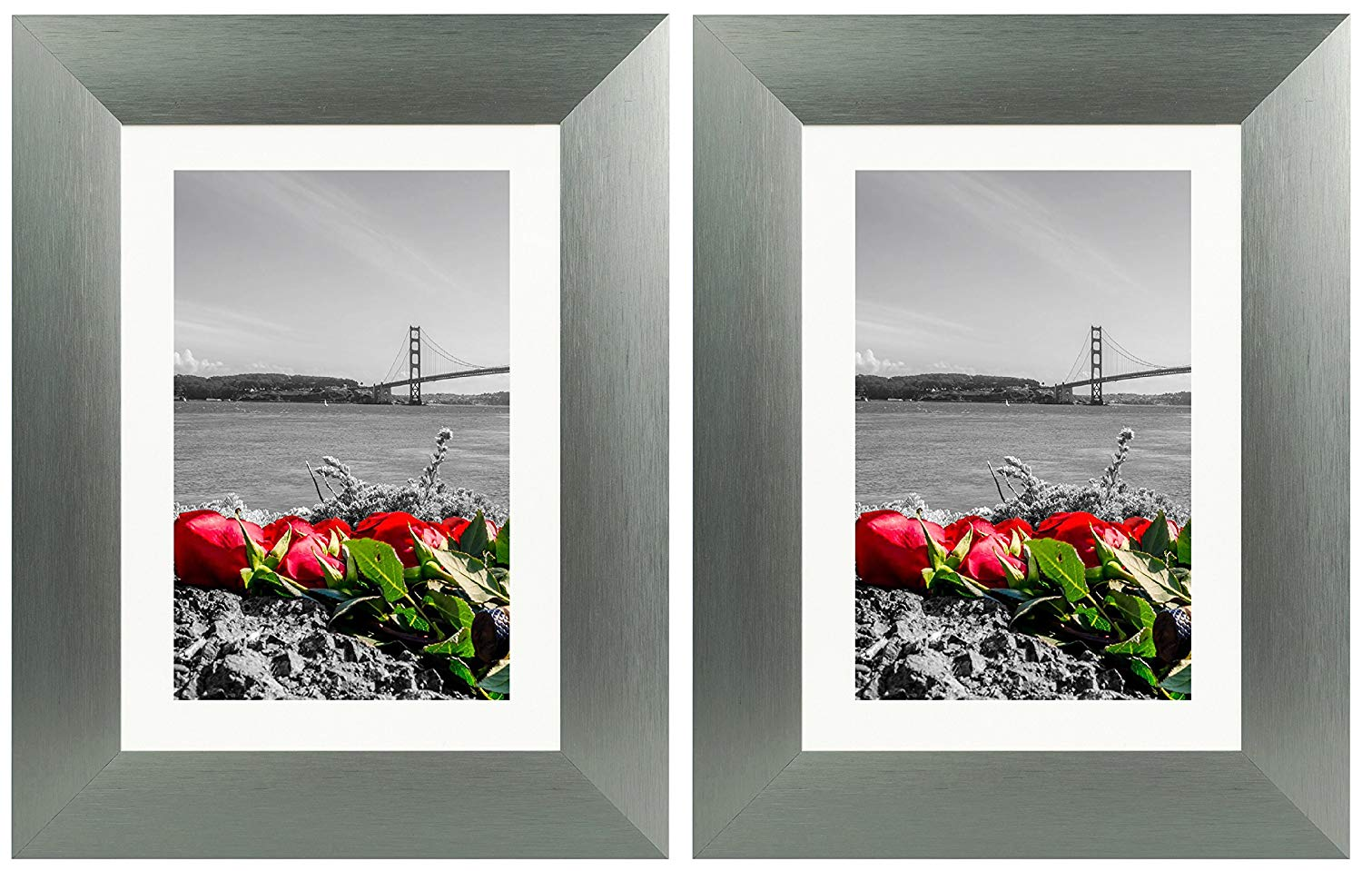 Frametory, 5X7 Dark Grey Tabletop Satin Brushed Aluminum Photo Frames with Ivory Color Mat for 4X6 Picture & Real Glass (Set of Two Frames)