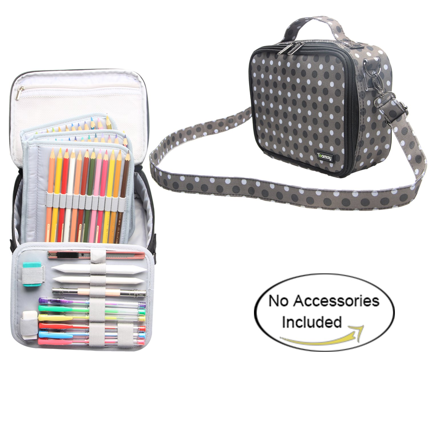 Teamoy Colored Pencils Case for 84 pencils, Travel Gadget Bag with Handle and Shoulder Strap, Stylish and Multi-purpose, Perfect Size for Travel or Daily Use, Gray Dots(NO Pencil included)