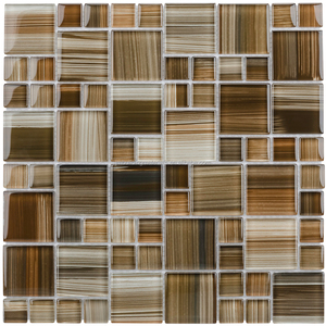 Dark Straw Brush Strokes Cubes Mosaic Glass Wall Tile