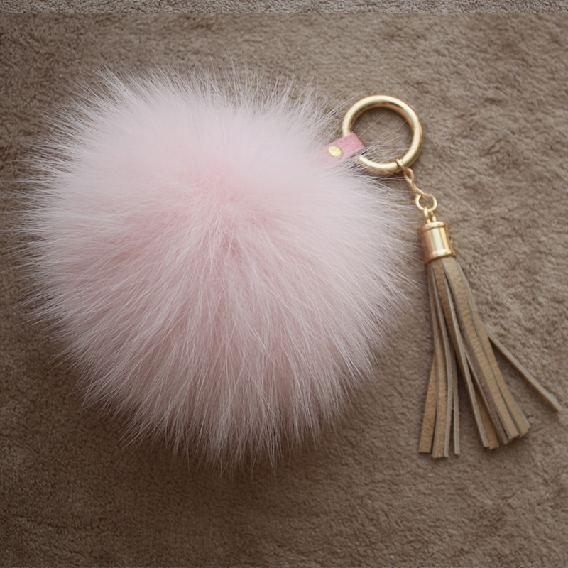 Myfur Baby Pink Real Leather Tassel Fox Fur Pom Puff Key Ring Bag Accessory