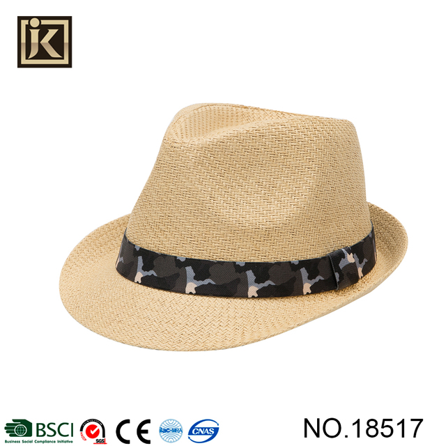 JAKIJAYI popular design usa summer short brim beige paper made fedora hat 80ad4ca98fb