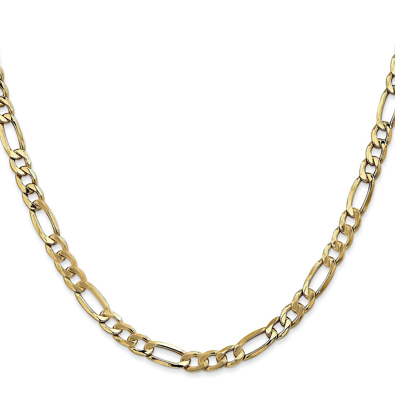 "14k Yellow Gold 5.2mm Semi-Solid Polished Figaro Chain Necklace Bracelet 7"" - 24"""