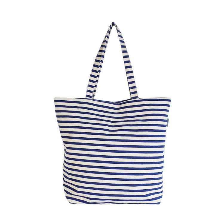Cotton Material and Striped Pattern Type Cotton Shopping Bag Utility Handbag For Lady
