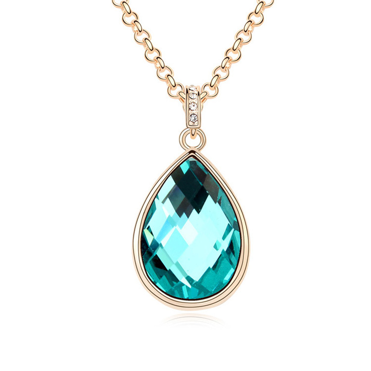 Trendy Classical Teardrop crystal long necklace for women ...