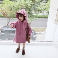 S11658B 2018 Autumn cotton 1-5 years baby girls casual hooded dresses children fashion long sleeve Hoodie dress kids clothes