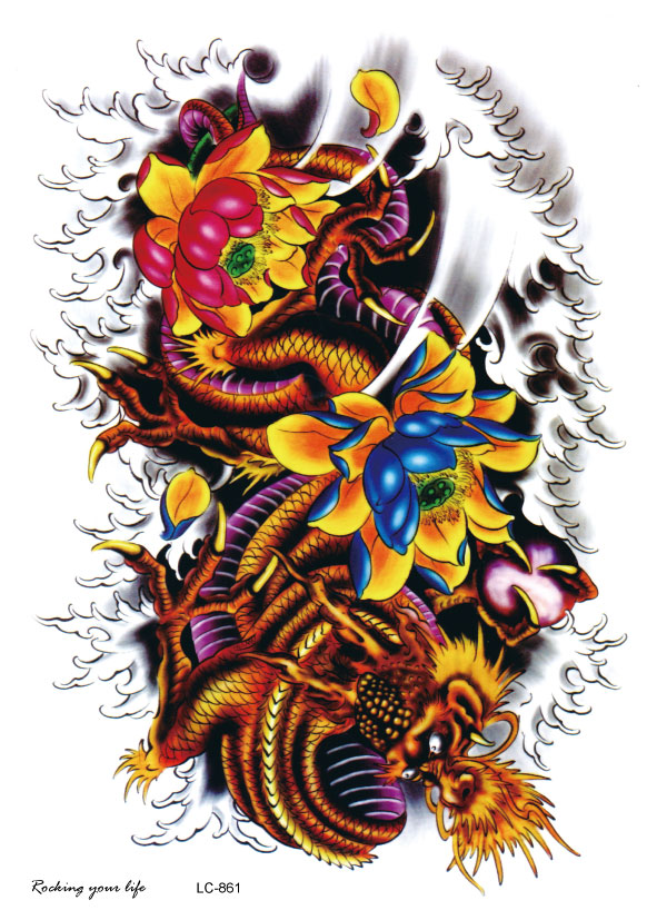 Dragon Tattoo With Flowers: Online Buy Wholesale Dragon Flower Tattoos From China