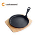 FDA Certificated Round Cast Iron Sizzler Steak Plate With Wooden Tray