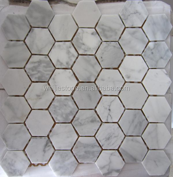 2x2 pulgadas hex gono blanco de carrara mosaico malla for Color marmol carrara