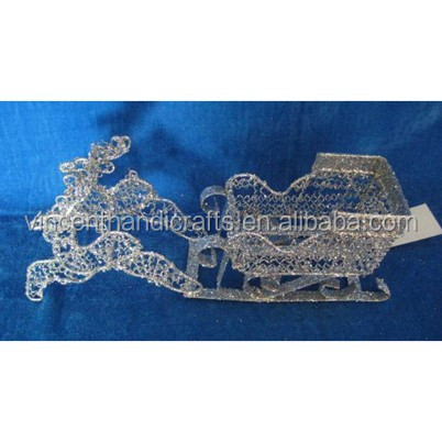 Shiny glitter woven sleigh and reindeer for Christmas decor