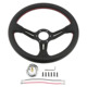 Hot Sale 350mm 14inch Black Spoke Leather Wheel Rim Universal Steering Wheel Racing