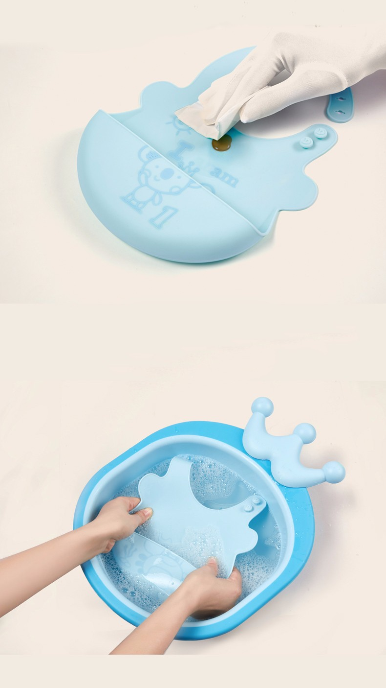 Easily Wipes Clean FDA Food Grade Soft Waterproof Silicone Baby Bib