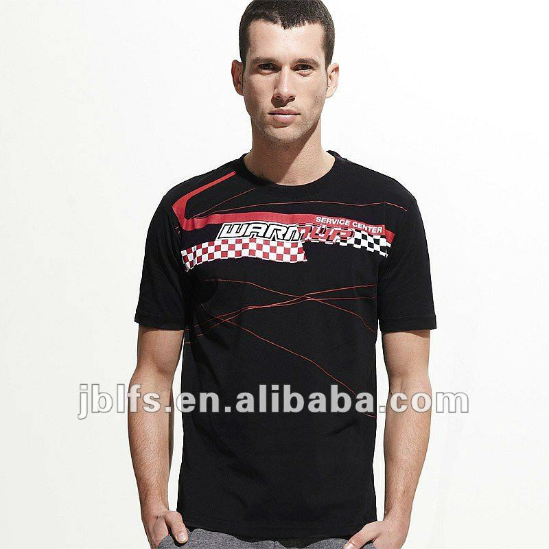 OEM Europe Cup Racing series mositure wicking fabric men's short sleeves t shirt with Print
