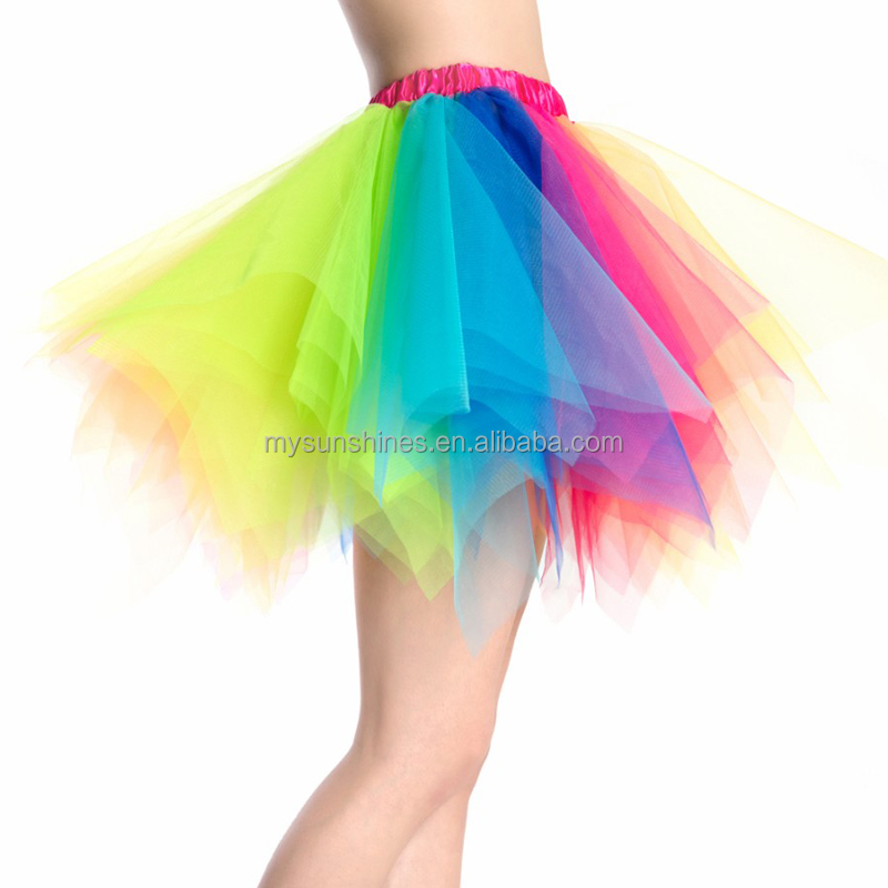 2017 Latest Skirt Design Pictures Wholesale Rainbow Adults Tutu Skirts