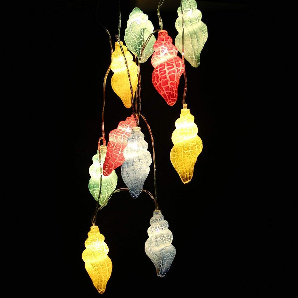 AOLVO Battery Operated String Lights,10 LED Conch Fairy Starry Decorative String Lights for Outdoor Indoor,Christmas, Birthday,Wedding, Bedroom, Bed Canopy, Garden, Patio, Wall Decor (1.5m/4.9ft)