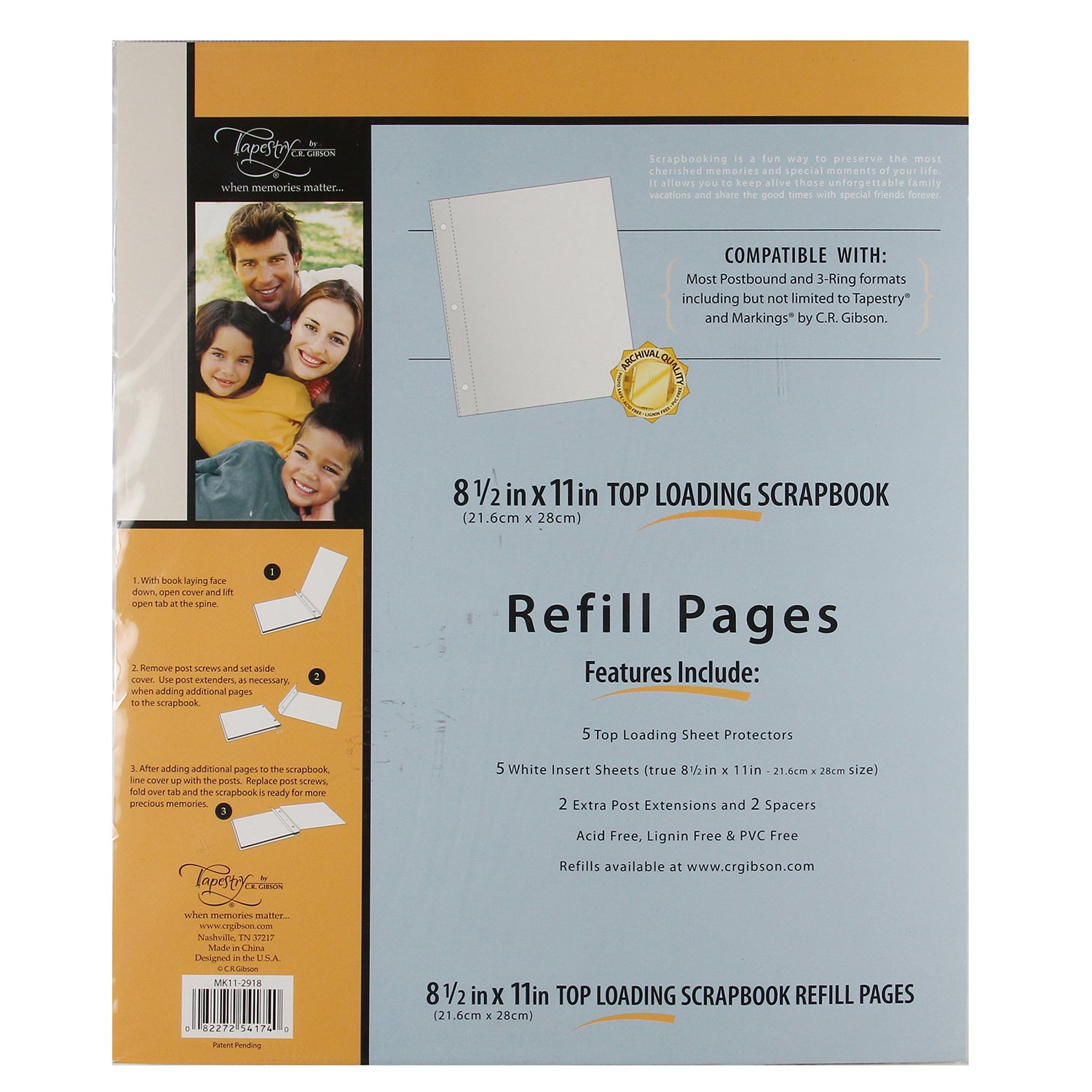 C.R. Gibson Scrapbook Top Loading Refill Pages - 8.5 In. X 11 In.