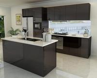 finger pull design high gloss black mdf board lacquer kitchen cabinet with island
