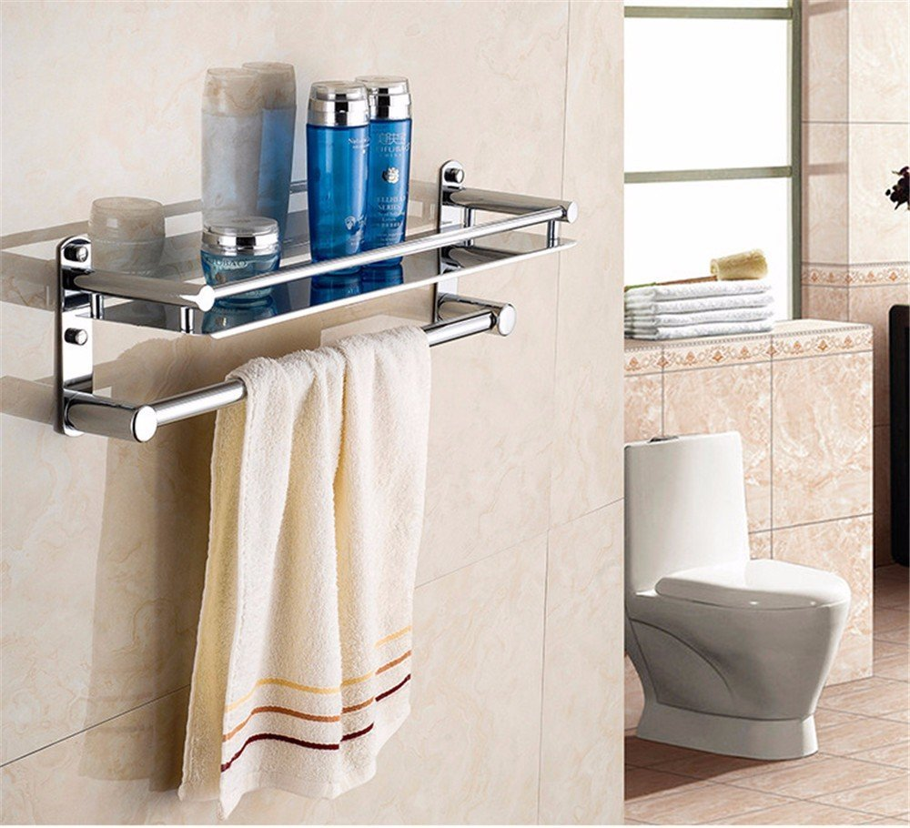 Wall-mounted swing Towel Bar-silver stainless steel towel bar towel bar double towel bar bathroom wall rack brushed nickel kitchen rotating hanging a towel rack towel rack