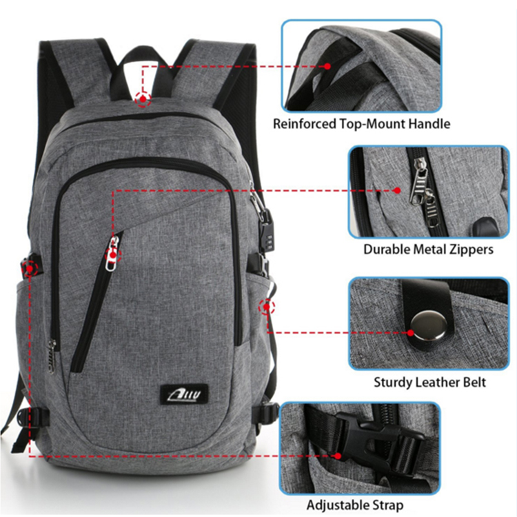 Fashion style multi-function polyester gray sports backpack