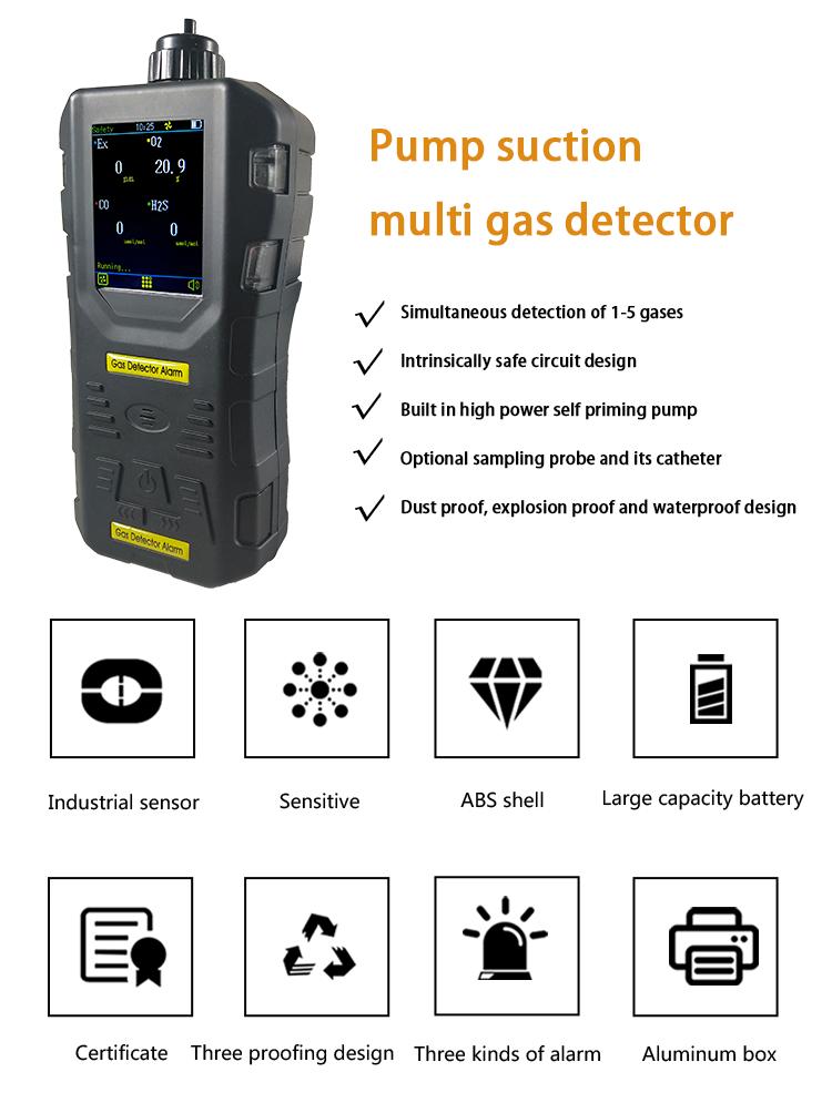 H2 NOx सह CO2 SO2 VOC के साथ मोटर वाहन निकास गैस विश्लेषक गर्मी-प्रतिरोध ग्रिप गैस जांच विकल्प