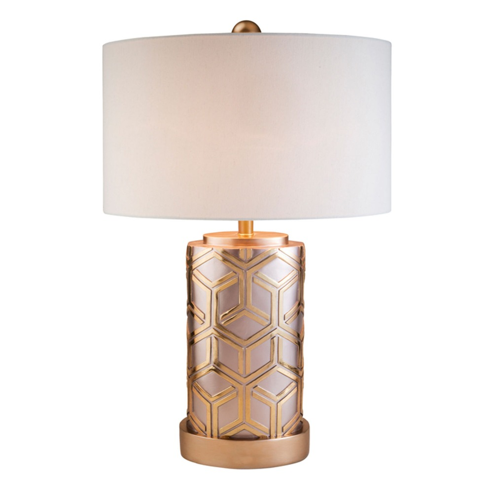 Contemporary Columbia Luxury Column Rose Gold Bamboo Weave Pattern Design Resin Table Lamp