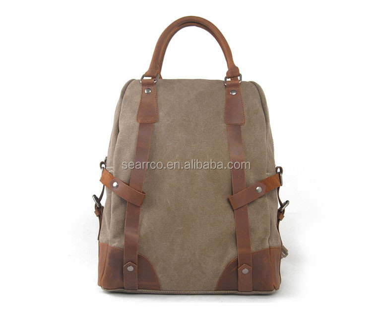Hottest canvas day backpack,custom canvas backpack, canvas and leather backpack