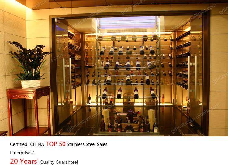 Customized wine cellars modern metal deluxe star hotel stainless steel wine cabinets.