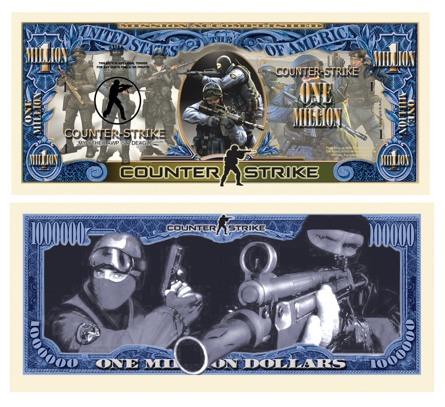 Limited Edition Counter Strike Collectible Million Dollar Bill in Currency Holder