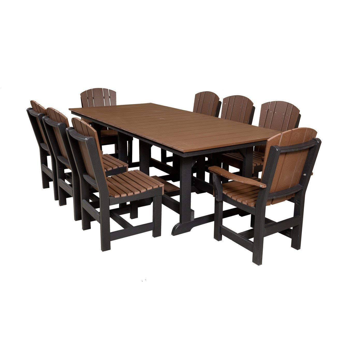 "Wildridge Recycled Plastic Heritage 44""x94"" Table with 8 Dining Chairs - Ships in 10-14 Business Days"