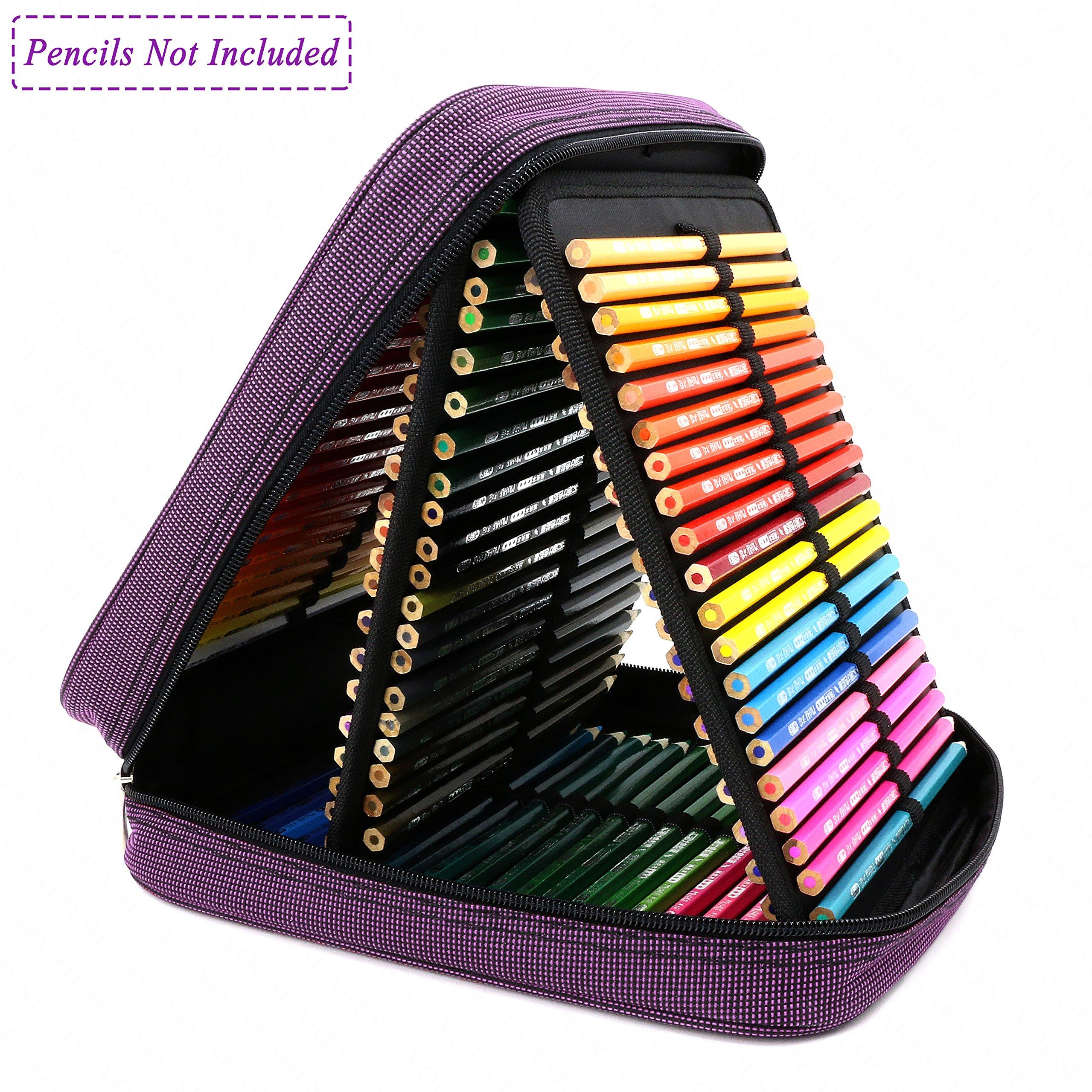 YOUSHARES® 120 Slots Pencil Case - Standable Dense Oxford Handy Multi-Layer Large Zipper Pen Bag for Prismacolor Watercolor Pencils, Crayola Colored Pencils, Marco Pens and Makeup Brush (Deep Purple)