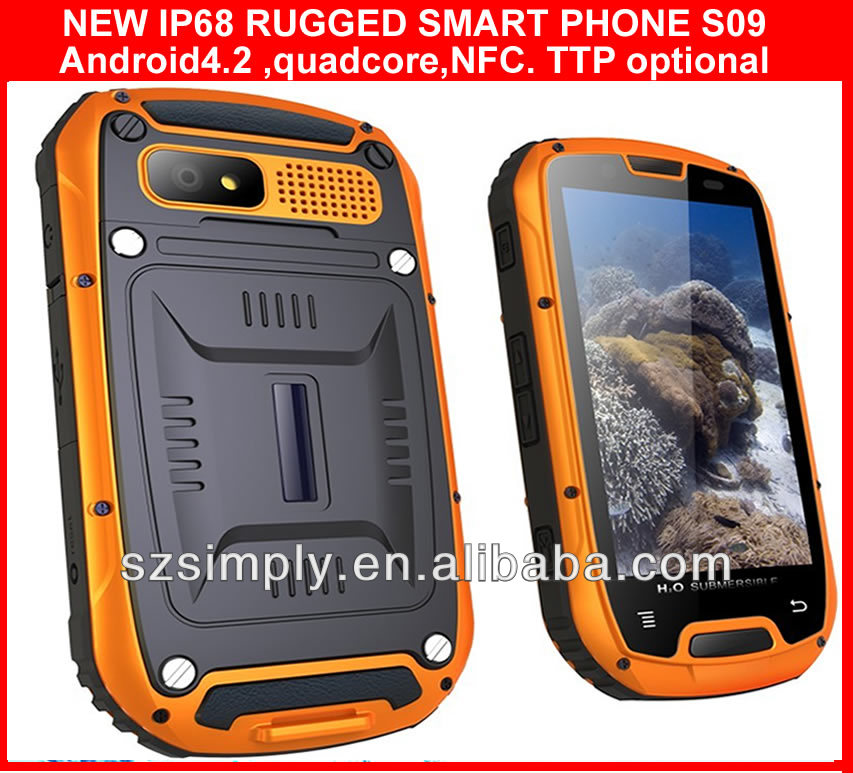 IP68 4.3l android function mobile phone android 4.2 GPS PPT NFC optional
