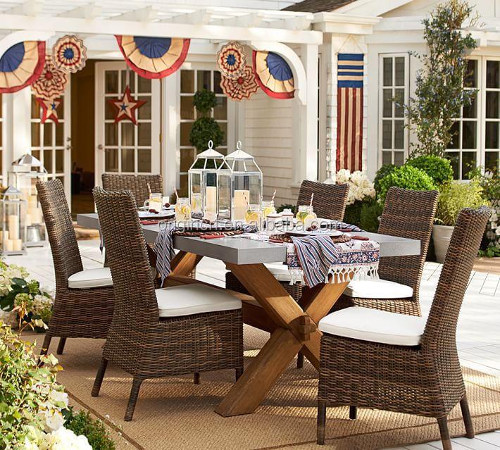 luxus-design-outdoor- terrasse zink top 6-sitzer stühle eukalyptus, Esszimmer dekoo