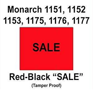 "96,000 Monarch 1151 compatible ""Sale"" Fluorescent Red General Purpose Labels to fit the Monarch 1151, 1152, 1153, 1175, 1176, 1177, 1180 & 1202 Price Guns. Full Case + includes 16 ink rollers."