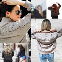 B30958A European latest design women satin slim fit baseball bomber jacket