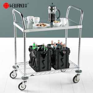 Hot Sale 2 Tiers Stainless Steel Hotel Kitchen Dining Room Food Service Cart Trolley