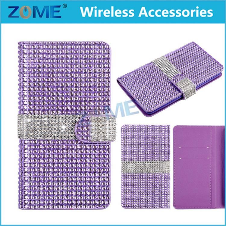 China Wholesale Diamond Leather Wallet Bling Flip Metal Pearl Case Cover For Lg K10