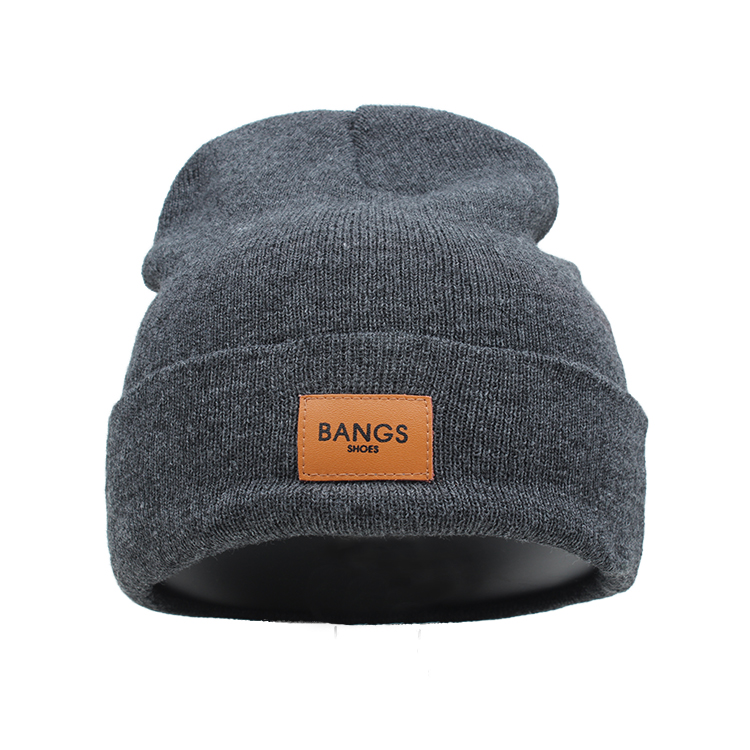 Wholesale Winter Leather Patch Beanie Custom Wool Beanies - Buy ... 04fa863cd3d