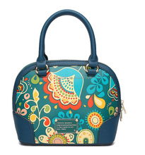 Hot Sell Stylish Designer Handbag Floral Print PU Leather Women spain Style Shoulder Bag with zipper
