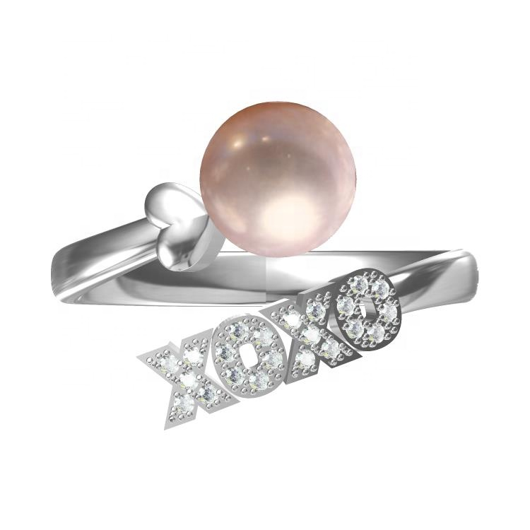 XOXO heart pearl ring setting 925 sterling silver XOXO jewelry freshwater pearl oyster adjustable ring set