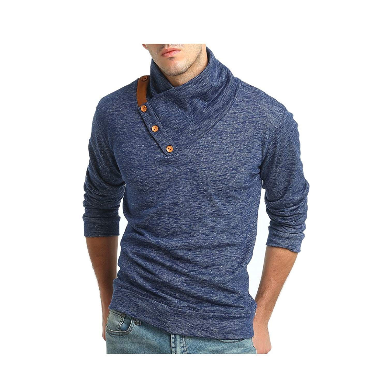 Shining4U Fashion Mens Casual Embroidery Knit Slim Stretch Soft Pullover Sweater