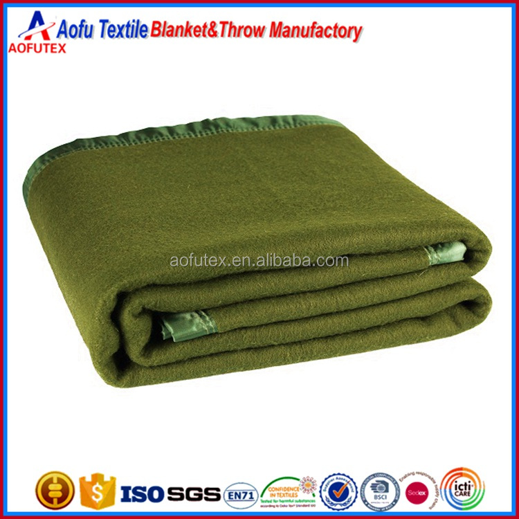 Top quality military equipment Olive Green Queen size polar fabric stamped heavy army military blanket for sale