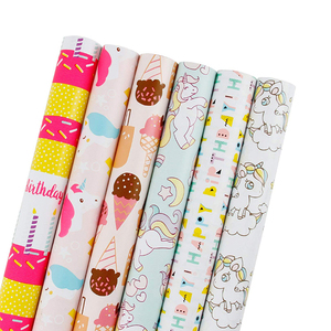 Wholesale Ice Cream/Unicorn Printed Holiday Birthday Gift Wrapping Paper