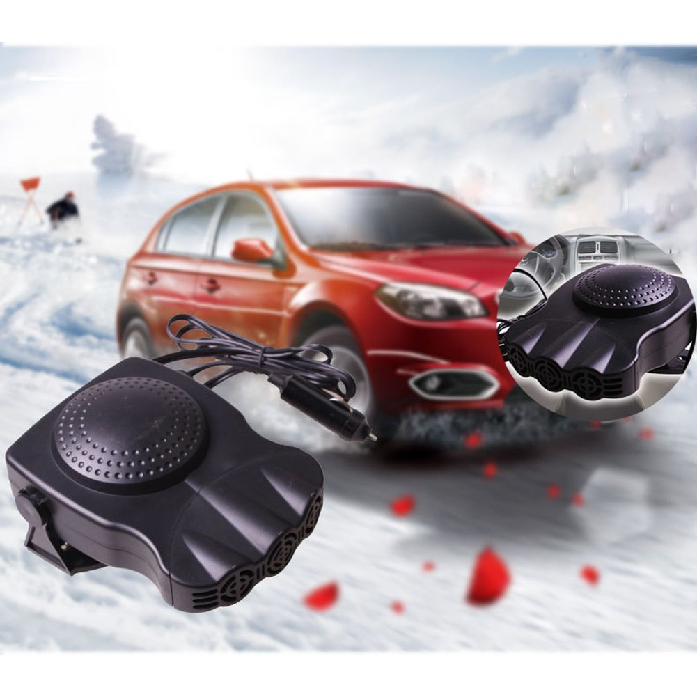 30 Seconds Fast Heating Quickly Defrosts Defogger LayOPO New Multifunctional Car Heater Car Air Fan 12V 150W Portable Auto Ceramic Heater Black