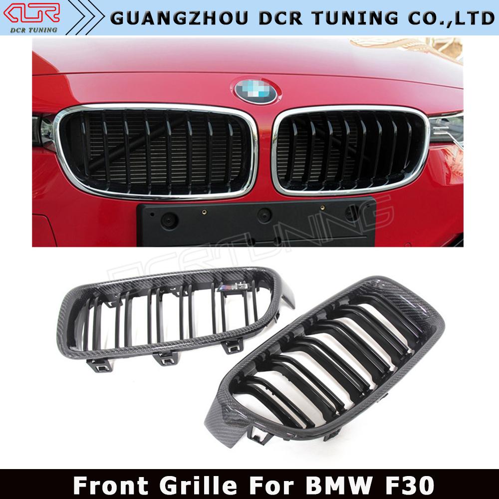 Dual Slats Car Mesh For Bmw 3 Series 320i 325i 328i 335i Carbon Fiber Front Grille F30 Grill Gloss Black Finish M Look Buy F30 Grille F30 Carbon